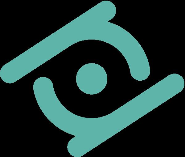 Il logo di Restorative Neurotechnologies è formato da due lenti ruotate in modo da formare una lente (prismatica).